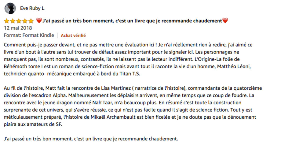 commentaire sur Amazon